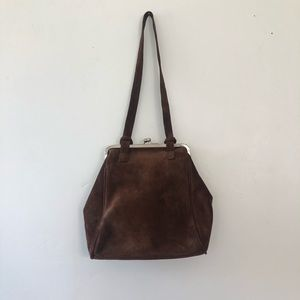 Vintage brown suede shoulder bag!